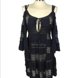 Jen's PirateBooty Lace Ruffled Cold Shoulder Dress